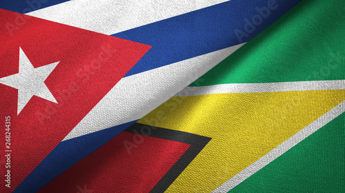 Cuba and Guyana two flags textile cloth, fabric texture Wallpaper Mural