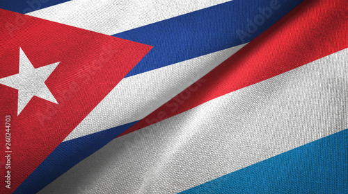 Cuba and Luxembourg two flags textile cloth, fabric texture Canvas Print