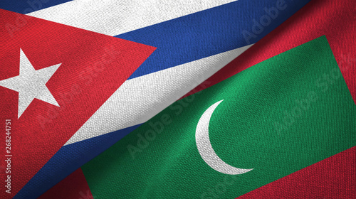 Cuba and Maldives two flags textile cloth, fabric texture Canvas Print