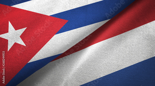 Cuba and Netherlands two flags textile cloth, fabric texture Wallpaper Mural