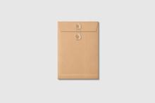 Kraft Paper A5/C5 Size String And Washer Envelope Mockup On Light Grey Background. High Resolution.