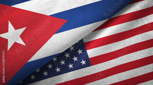 Cuba and United States two flags textile cloth, fabric texture Wallpaper Mural