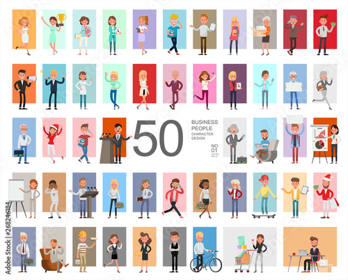 Fifty business people working character vector design. Presentation in various action with emotions, running, standing and walking. Wall mural
