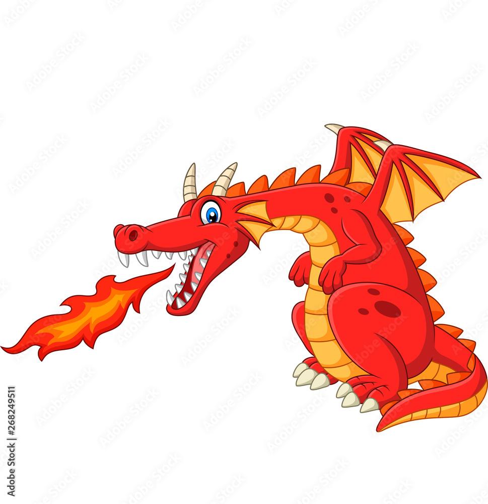 Fototapeta Cartoon red dragon spitting fire