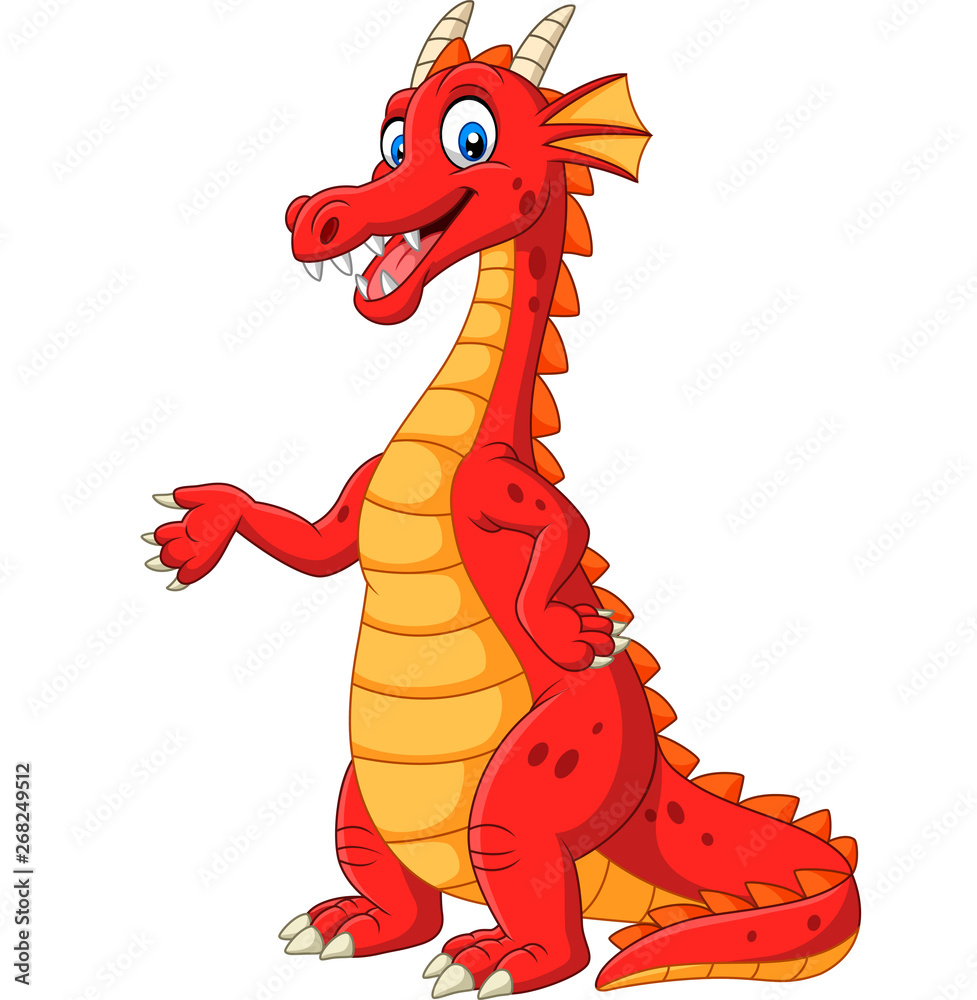 Fototapeta Cartoon happy red dragon presenting