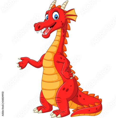 Fototapeta Cartoon happy red dragon presenting