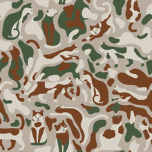 Seamless Camo Pattern With Cats