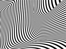 Abstract, Modern Black And White Bent Stripes Optical Illusion Warped Texture Background