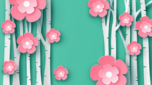 Paper Art Of Sakura Tree And Cherry Blossom In Spring Forest With Place For Your Text Space. Graphic Design For Spring. Paper Cut And Craft Style. Vector, Illustration.