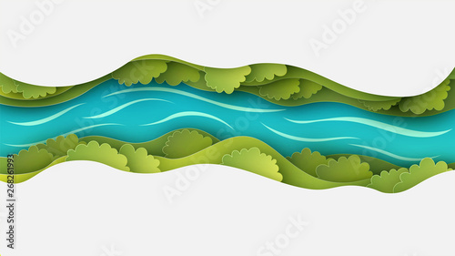Foto auf Gartenposter Weiß Paper layer cut of top view landscape in forest with trees, river, cloud and narrow valley. Landscape design on paper art. paper cut and craft style. vector, illustration.