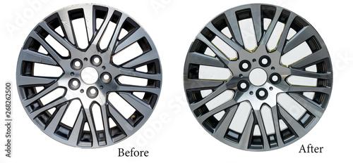 Cuadros en Lienzo  Alloy wheel repair ,Repairing alloy wheels with metal shadows, before repairing