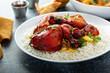 Leinwandbild Motiv Whole tandoori chicken with jasmine rice, indian food