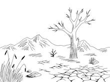 Dry Landscape Graphic Black Wh...