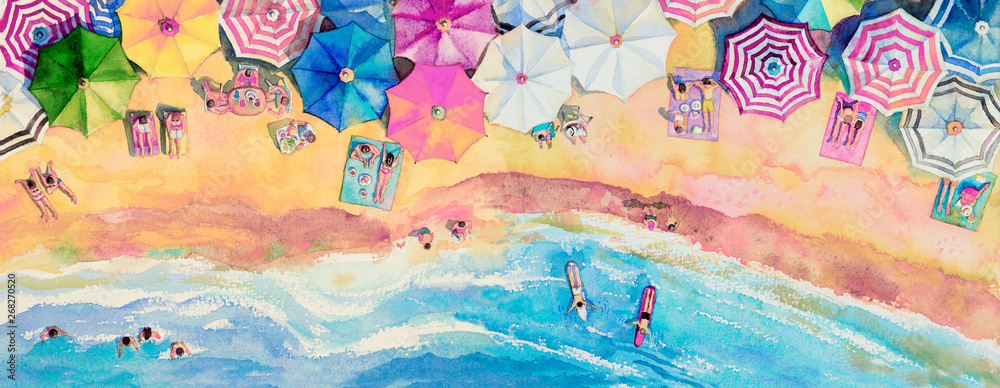 Fototapety, obrazy: Painting watercolor seascape top view colorful of family tavel.