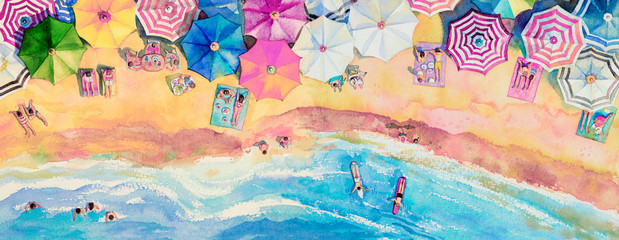 Painting watercolor seascape top view colorful of family tavel.