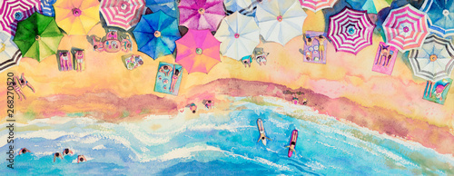 Obraz Painting watercolor seascape top view colorful of family tavel. - fototapety do salonu