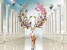 3d Illustration, Columns, Sky, Balloons, Fabulous Deer With Large Flowering And Fruiting Horns, Two Sailboats On The Water