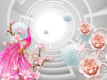 3d Illustration, Light Background, Hot Pink Peacock Standing On A Column, Pale Pink Fabulous Flowers, Blue Origami Balloons