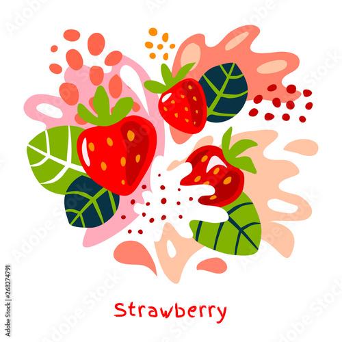Fresh strawberry berry berries fruits juice splash organic food juicy splatter strawberries on abstract background vector hand drawn illustrations Fototapete