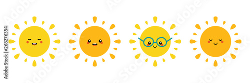 Set, collection of happy, smiling, joyful cartoon style sun characters for summer, vacation design.