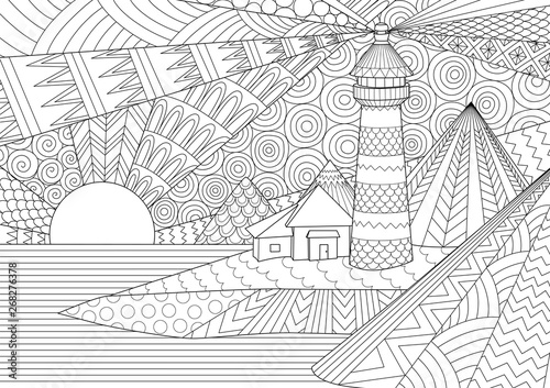Coloring Page. Coloring Book For Adults. Editable Stroke Width Drawing.  Colouring Pictures Of Light House Among Mountains,sunburst Ocean And  Seawave. Antistress Freehand Sketch Drawing With Doodle And - Buy This  Stock Vector
