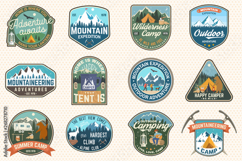 Photo Set of mountain expedition and summer camp patches