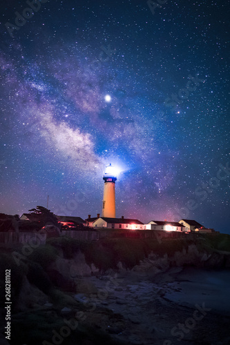 Milky Way at Pigeon Point Lighthouse, Pescadero, California Wall mural