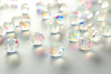 Shiny Beads On White Background