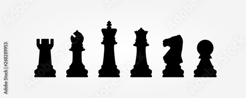 Canvas Print Chess figures isolated on a white background