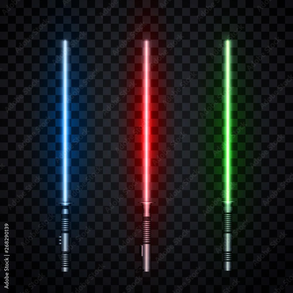 Fotografie, Obraz Set of three realistic light swords isolated on transparent background