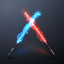 Neon Electric Light Swords. Crossed Light Sabers Isolated On Transparent Background. Vector Illustration