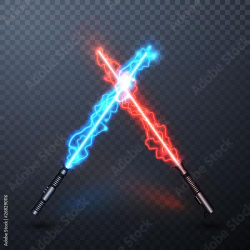 Obraz na plátně Neon electric light swords