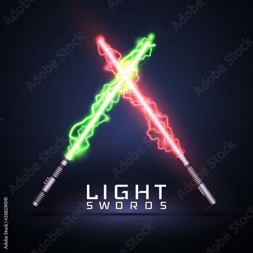 Fototapeta Neon electric light swords