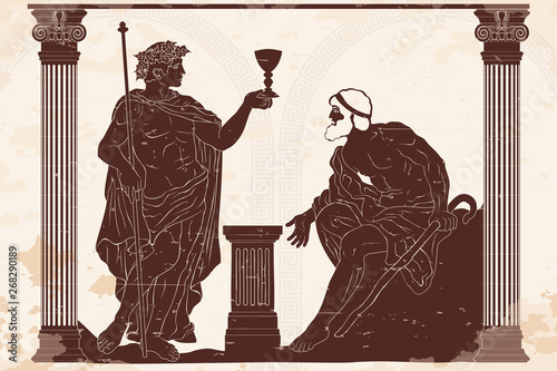 Fotografia The ancient Greek god of wine Dionysus with a glass in his hands and the old man with a staff engaged in a dialogue in the temple between two columns