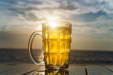 Glass Tankard Beer Dramatic Sky Sunset