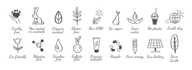 Eco friendly, ecology vector hand drawn icons set. Organic cosmetics, zero waste, save earth and healthy lifestyle sign