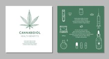 Cannabidiol Health Benefits Vector Background, Banners. Hand Drawn Infographic Set Of Medical Cannabis, Marijuana. Pills, Bottles, Oil And Other Medicinal Cannabis Symbols