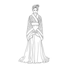 Hand Drawn Vector Illustration. Beautiful Chinese Women For Adult Coloring Book