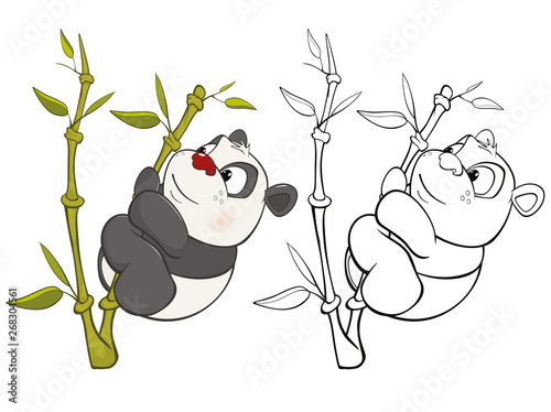 Poster de jardin Chambre bébé Vector Illustration of a Cute Cartoon Character Panda for you Design and Computer Game. Coloring Book Outline Set