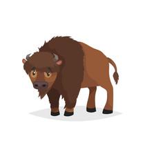 Cute Bison Standing. Cartoon C...