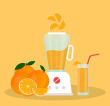 Juicer Or Blender For Making Juices And Fruit Cocktails. Orange Juice In A Glass And Oranges Sliced Next To A Blender.