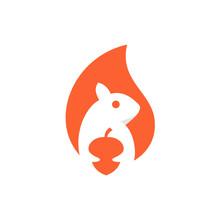 Squirrel Negative Space Vector Logo Design