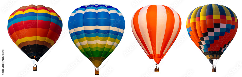 Fototapeta Isolated photo of hot air balloon isolated on white background.
