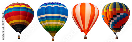 Obraz na plátne Isolated photo of hot air balloon isolated on white background.