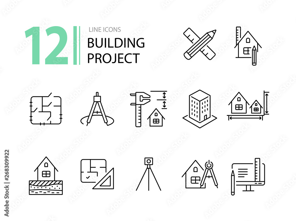 Fototapeta Building project line icon set. Floor plan, layout, compass, ruler. Architecture concept. Can be used for topics like engineering, measurement, construction