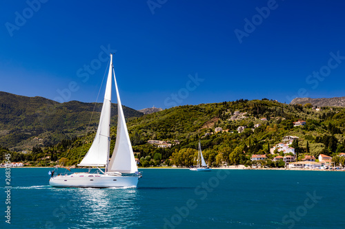 obraz lub plakat Lonely yacht sailing on silent sea. Turkey.