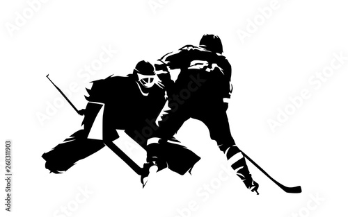 Fotografía Ice hockey player shoots puck, goalie makes save, abstract isolated vector silho