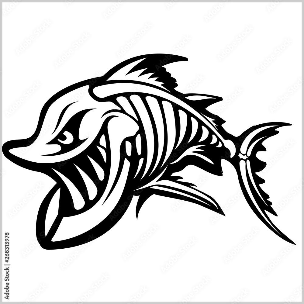 Fototapety, obrazy: Fish skeleton on white. Vector illustration