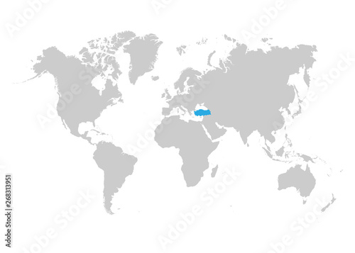 Turkey map is highlighted in blue on the world map – kaufen ...