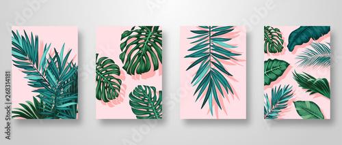 Set Invitation Card Leaves Background - fototapety na wymiar